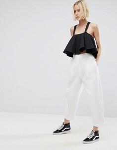 Фактурные брюки без застежки ASOS WHITE - Белый