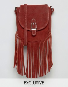 Замшевая сумка с бахромой Reclaimed Vintage - Красный