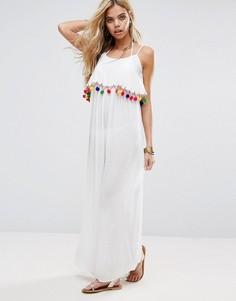 Пляжное платье макси с помпонами Boohoo - Белый