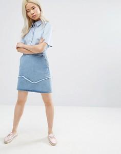 Джинсовая мини-юбка с отделкой бахромой M.i.h Jeans - Синий