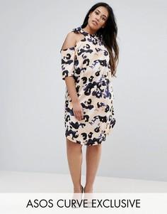 Платье с леопардовым принтом и бантом у горловины ASOS CURVE - Мульти
