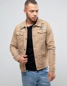 Рваная джинсовая куртка Liquor & Poker - Бежевый