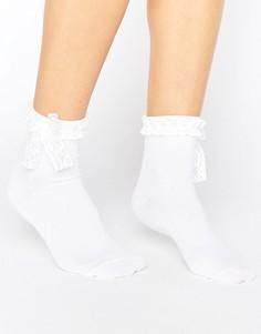 Носки с бантиками и кружевной отделкой ASOS - Белый