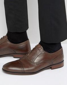 Коричневые строгие броги на шнуровке Red Tape - Коричневый