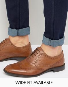 Светло-коричневые кожаные оксфордские броги ASOS - Доступна модель для широкой стопы - Рыжий