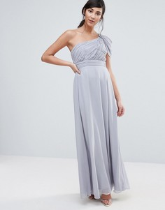 Платье макси на одно плечо с драпировкой Little Mistress - Серый