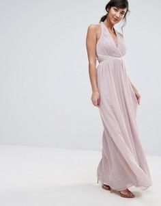 Платье макси с отделкой Little Mistress - Бежевый