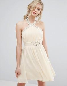 Короткое приталенное платье халтер с отделкой Little Mistress - Бежевый