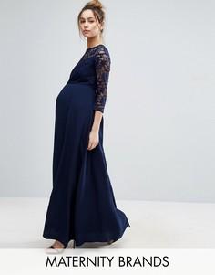 Платье макси с шифоновой юбкой и кружевным лифом Queen Bee - Темно-синий