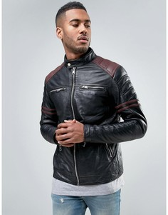 Кожаная куртка с полосами на рукавах Barneys - Черный Barneys Originals