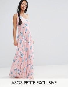 Платье макси на одно плечо с цветочным принтом и юбкой плиссе ASOS PETITE - Мульти