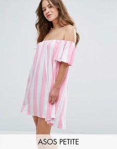 Платье в полоску с открытыми плечами ASOS PETITE - Мульти