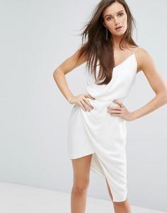 Платье мини с драпированной вставкой Stylestalker - Белый