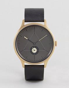 Часы с черным кожаным ремешком Cronometrics - Коричневый