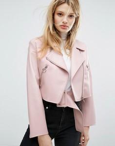 Куртка из искусственной кожи с поясом Outstanding Ordinary - Розовый