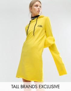 Oversize-платье из трикотажа с капюшоном и узором Daisy Street Tall - Желтый