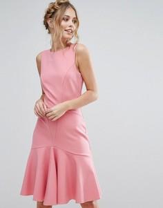 Платье миди с оборкой по подолу Closet London - Розовый