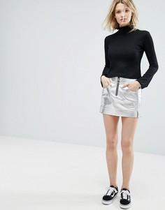 Серебристая мини-юбка из искусственной кожи Outstanding Ordinary - Серебряный