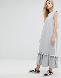 Платье миди без рукавов с оборкой на подоле Outstanding Ordinary - Серый
