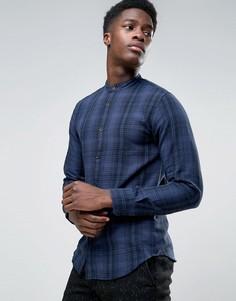 Фланелевая рубашка в клетку с воротником на пуговице Selected - Темно-синий