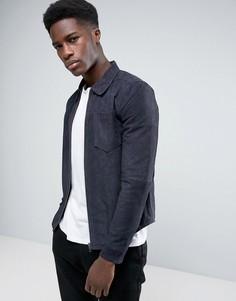 Кожаная куртка Selected - Темно-синий