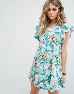 Свободное платье с гавайским цветочным принтом Motel - Синий