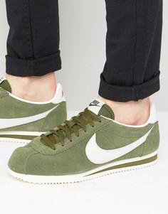 Кожаные зеленые кроссовки Nike Cortez 861535-301 - Зеленый