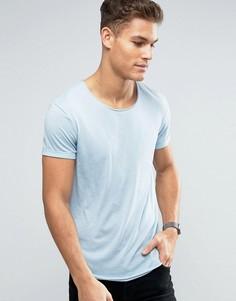 Длинная футболка с необработанным асимметричным краем Esprit - Синий