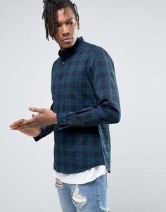 Узкая джинсовая рубашка в клетку синего цвета ASOS - Темно-синий
