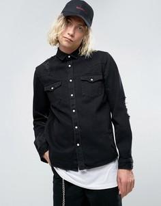 Черная джинсовая рубашка в стиле вестерн плотностью 13,5 унции ASOS - Черный