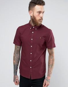 Бордовая оксфордская узкая рубашка с короткими рукавами Farah Brewer - Красный