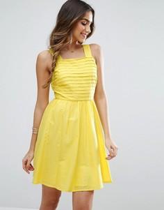 Плиссированное платье мини ASOS - Желтый