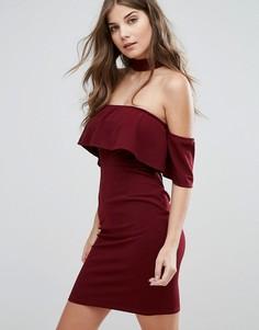 Платье с открытыми плечами и чокером Parisian - Красный