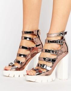 Туфли на каблуке с ремешками ASOS OLANDA - Золотой
