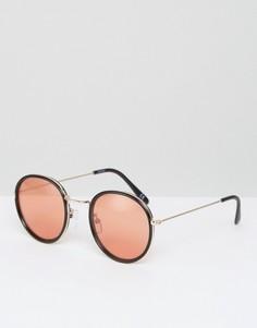 Круглые солнцезащитные очки в стиле 70-х с оранжевыми стеклами ASOS - Черный