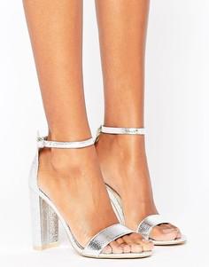 Серебристые босоножки на блочном каблуке Glamorous Barely There - Серебряный