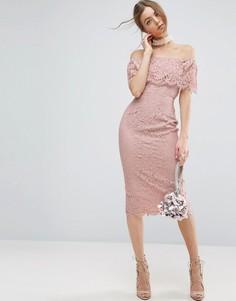 Кружевное облегающее платье миди с открытыми плечами ASOS - Розовый