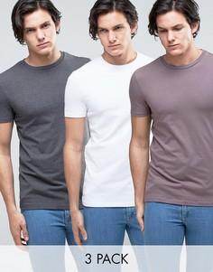 3 обтягивающих футболки (меланжевая темно-серая/белая/фиолетовая) ASOS - СКИДКА - Мульти