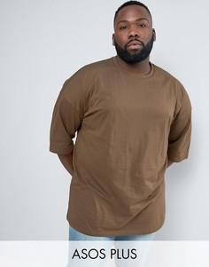 Коричневая свободная футболка с рукавами до локтя ASOS PLUS - Коричневый