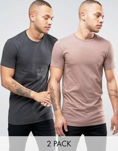 2 длинные обтягивающие футболки (черная/бежевая) ASOS - СКИДКА - Мульти