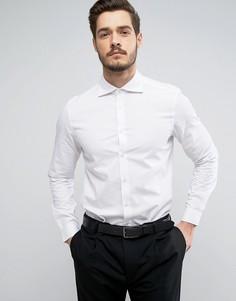 Фактурная рубашка классического кроя с большим срезанным воротником ASOS - Белый