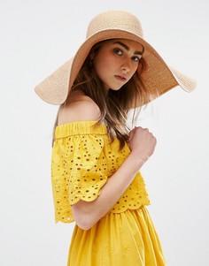 Мягкая соломенная оversize-шляпа с золотисто-розовой отделкой ASOS - Золотой