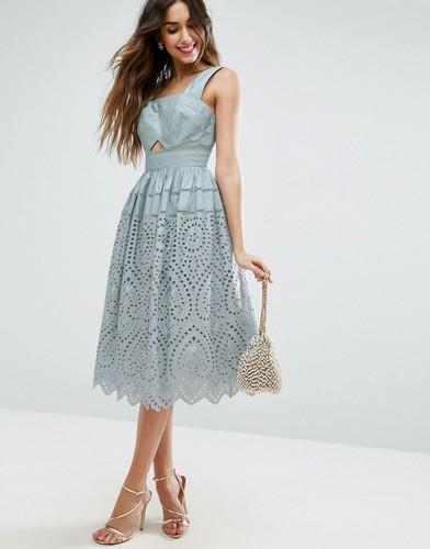 Платье для выпускного с вышивкой ASOS - Синий