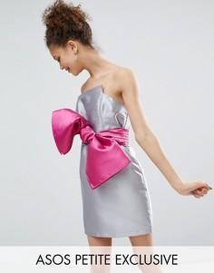 Коктейльное платье с бантом в стиле 80-х ASOS PETITE - Серый