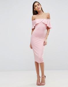 Платье миди с широким вырезом и перекрестной отделкой спереди ASOS - Розовый
