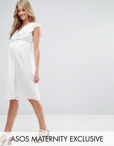 Кружевное платье с запахом ASOS Maternity - Белый
