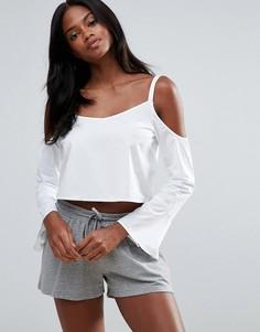 Блузка с открытыми плечами First & I - Белый