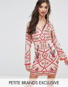 Декорированное цельнокройное платье с птицами Frock And Frill Petite Premium - Оранжевый