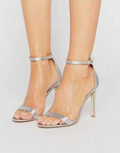 Атласные сандалии на каблуке Public Desire Avril - Серый