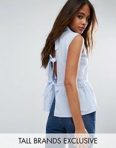 Рубашка в тонкую полоску с баской и бантами сзади Glamorous Tall - Синий